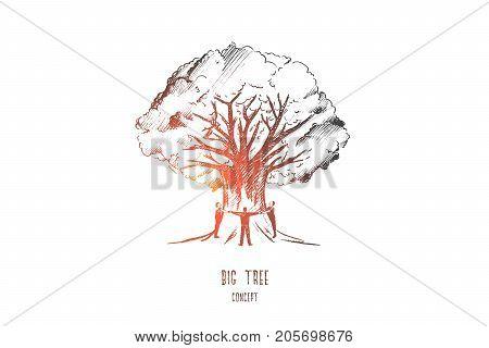 Big tree concept. Hand drawn people around big tree. Huge tree trunk isolated vector illustration.
