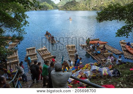 December 22 2014 Lagunas de Montebello National Park Mexico: departure point for rafting on the blue water of Cinco Lagos is popular activity with tourists