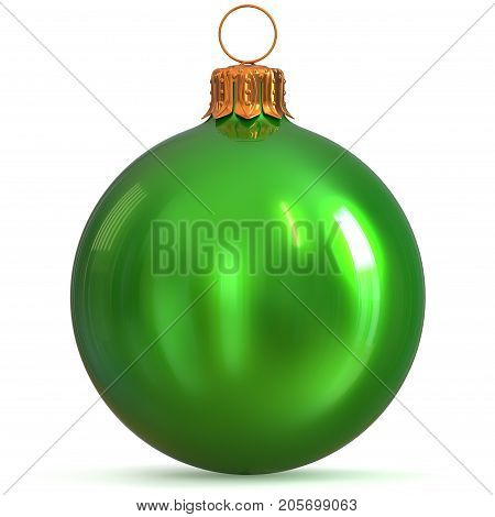 Christmas ball green decoration New Year's Eve bauble winter hanging adornment souvenir. Traditional ornament happy wintertime holidays Merry Xmas symbol closeup. 3d rendering illustration