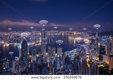 Hong Kong wifi network connection network. Wifi network connection concept.