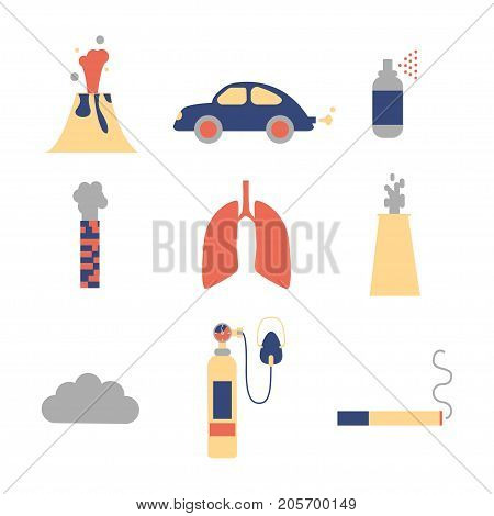 Air pollution icon set. Stock vector illustration of emissions from cars factory household spray volcano smoking. Flat style.
