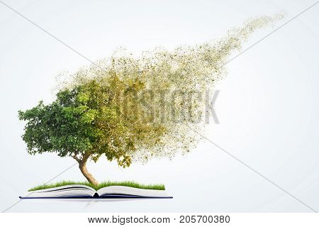 3d illustration of book of nature with grass and tree growth and disintegrate isolated on white background