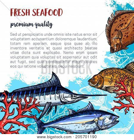 Fresh seafood poster and fisherman fish catch of flounder, marlin or carp and herring. Vector fish or sea food design of salmon, pike or sprats and mackerel for market or restaurant
