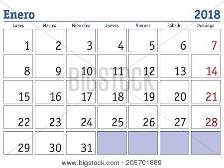 january 2018 calendar spanish