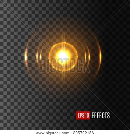 Light lens flare effect with shining flash. Vector isolated icon of glittering sparkle of sun rays glare or starlight beams of twinkling star with gleaming solar burst on transparent background,