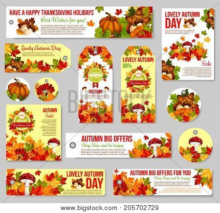 Autumn sale tag and fall season discount offer label set. Autumn leaf, fallen harvest pumpkin vegetable, yellow and orange maple foliage, forest mushroom, acorn and rowan berry for retail design