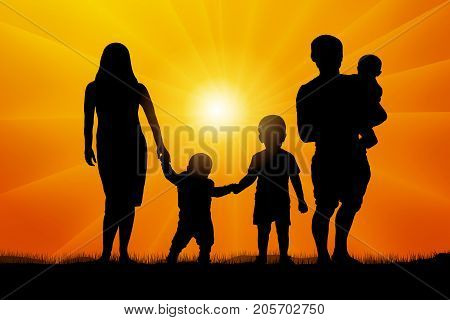 Large family at sunset silhouette ,  vector