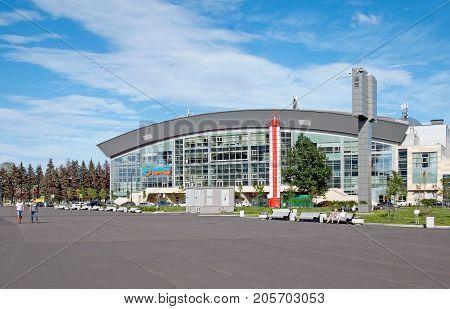 SAINT - PETERSBURG, RUSSIA - AUGUST 1, 2017: People near Sibur Arena - multi-purpose indoor sporting arena, concert and sports complex on The Krestovsky Island