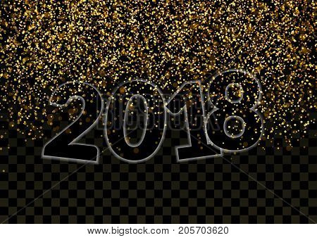 Shimmer Glitter Falling Revealing Happy New Year 2018 Number. Bright luxurious golden particle abstract magical Gold on Black Background. Glittering Luxury Design. Holiday Party Card. Vector illustration