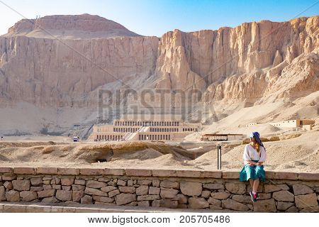 Panorama of famous ancient temple of Hatshepsut in Luxor, Egypt