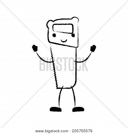 hand saw icon monochrome cartoon blurred silhouette vector illustration