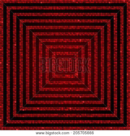 Concentric Square Red Mosaic Sequin Glitter Sparkle Star Elements Background. Web Design.