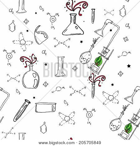 Vector seamless pattern with hand drawn glass flasks. Uncolored bottles. Back to school.