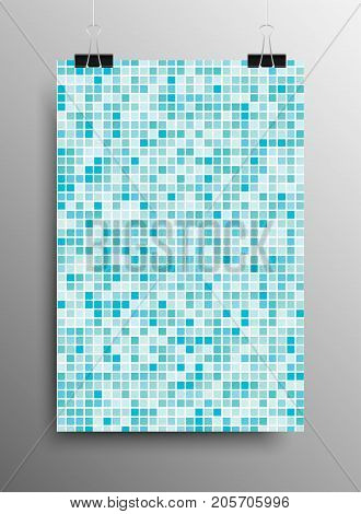 Vertical Poster Banner A4 Sized Vector Hanging With Paper Clips. Mosaic Tile Honeycomb Vector Background. Perspective Halftone Comb Fone. Blue Background. Vector illustration for Web Design.