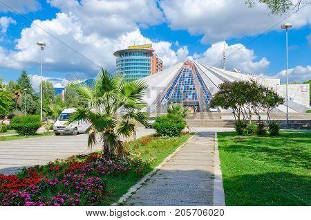 TIRANA ALBANIA - SEPTEMBER 6 2017: Building