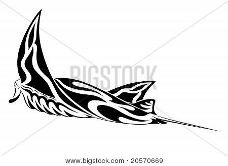 Manta Ray in the form of tribal tattoo poster