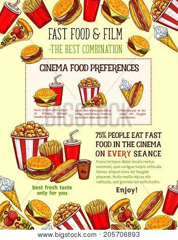 Fast food burgers, sandwiches and snack poster for cinema bar or bistro of cheeseburger, pizza or hot dog and soda drink combo. Vector sketch fastfood hamburger, ice cream or popcorn and donut dessert