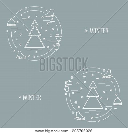 Vector Illustration For Sports Figure Skating Arranged In A Circle. Including Icons Of Skates, Glove