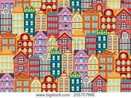 Seamless vector pattern with colorful bright facades Dutch house . Different color and shape old houses. Facades of houses in the traditional Dutch style flat vector illustration