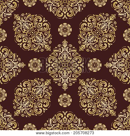 Seamless classic brown and golden pattern. Traditional orient ornament. Classic vintage background