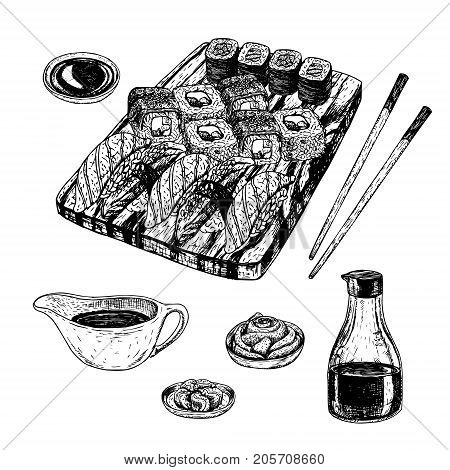 Hand drawn set of sushi and rolls. Soy sauce wasabi pickled ginger chopsticks board. Sketches isolated. Vintage collection. Linear graphic design. Black and white Japanese rolls. Vector illustration.