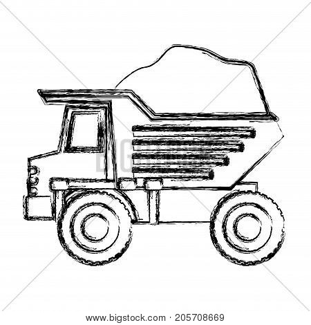 dump truck with load in monochrome blurred silhouette vector illustration