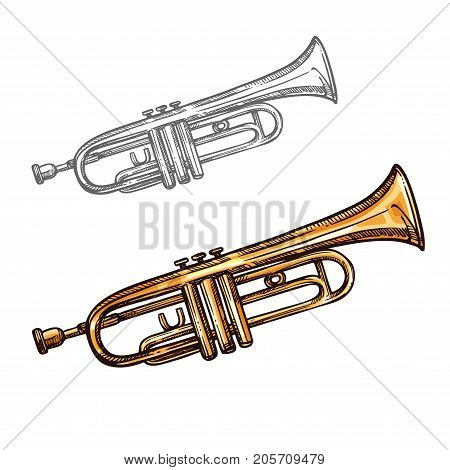 Trumpet musical instrument sketch icon. Vector isolated brass trombone, vintage cornet or retro alto horn tuba for jazz or classic music concert design and orchestra festival