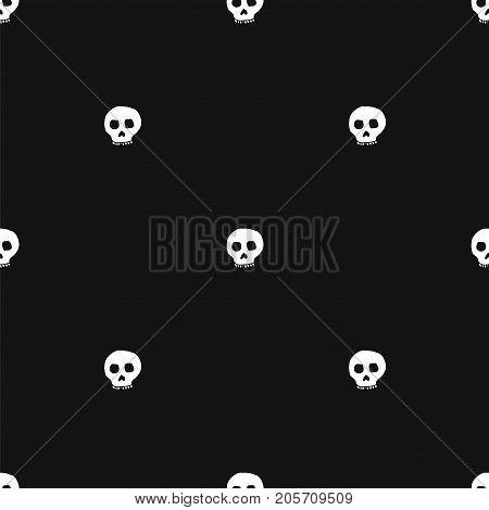 Hand drawn skull seamless pattern. Stock vector illustration of human head doodles