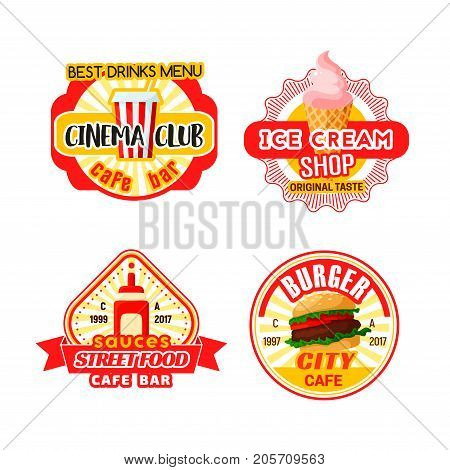 Fast food snacks, drinks and desserts icons templates for cinema club or bar bistro menu. Vector isolated fastfood cheeseburger burger, ice cream or soda drink and sauces for street food