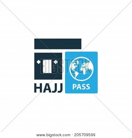 Premium Quality Isolated Travel Element In Trendy Style.  Hajj Colorful Icon Symbol.