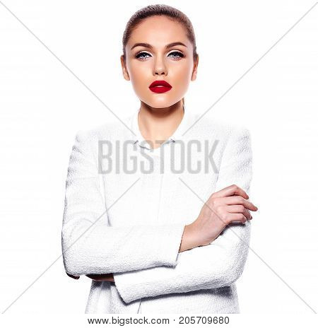 beautiful gorgeous young caucasian sexy hot businesswoman secretary in white jacket isolated on white with bright makeup and red lips
