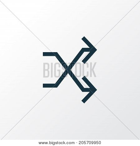 Premium Quality Isolated Randomize Element In Trendy Style.  Shuffle Outline Symbol.