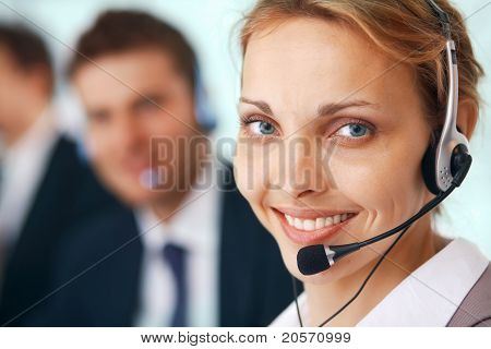 Closeup Of A Businesswoman With Headset
