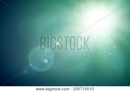 Shiny abstract template with bright flash and light effects on blurred background vector illustration