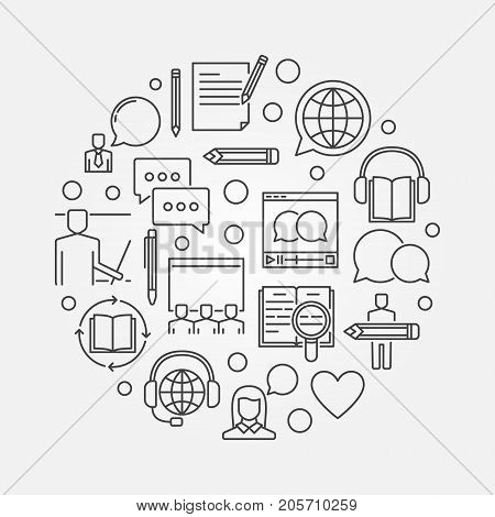 Online education circular illustration - vector elearning and online courses concept linear sign