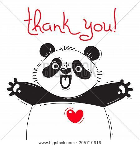 Illustration with joyful panda who says - thank you. For design of funny avatars, posters and cards. Cute animal in vector.