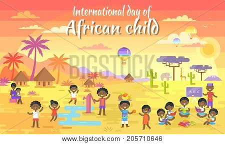 International Day of African Child big banner with kids who read books, play with water, share fruits and air balloon in sky vector illustration.