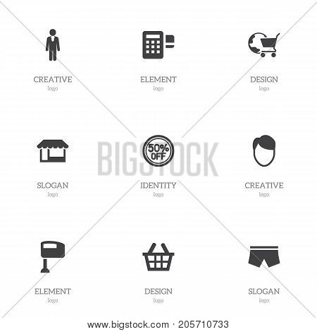 Set Of 9 Editable Trade Icons. Includes Symbols Such As Grocery, Stir, Device And More