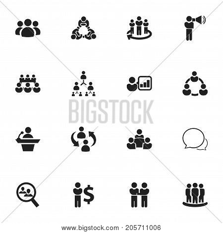 Set Of 16 Editable Team Icons. Includes Symbols Such As Friendship, Introducing, Hierarchy And More