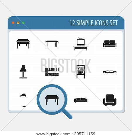 Set Of 12 Editable Interior Icons. Includes Symbols Such As Illuminant, Mattress, Tv And More