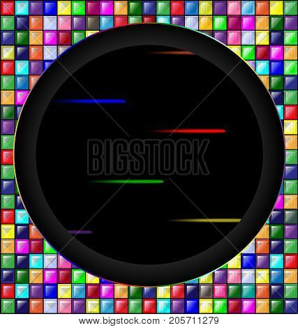 abstract colored background image consisting of lines with colored glossy blocks and big black hole