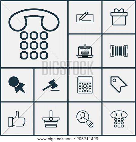 Ecommerce Icons Set. Collection Of Pannier, Identification Code, Calculator And Other Elements