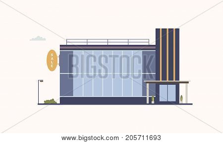 City building of trade center or shopping mall with large panoramic windows and glass entrance door built in modern architectural style. Outlet store or discount shop. Colorful vector illustration