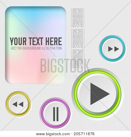 Music web elements collection with control round buttons and colorful rings on light background isolated vector illustration