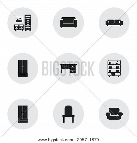 Set Of 9 Editable Interior Icons. Includes Symbols Such As Stillage, Lectern, Cabinet And More