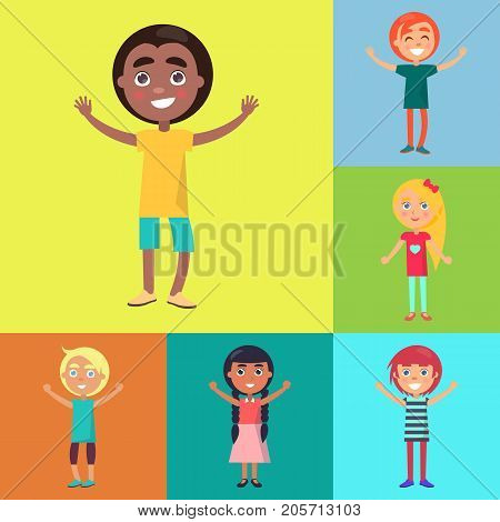 Afro-american smiling boy and happy kids from various countries on colorful background vector poster. Childhood celebrating time template