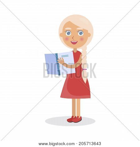Blond girl in red dress holds open textbook vector illustration isolated. World Day of Book poster to promote reading, publishing and copyright