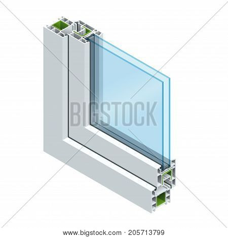 Isometric Cross section through a window pane PVC profile laminated wood grain, classic white. Flat vector illustration of Cross-section diagram of glazed windows