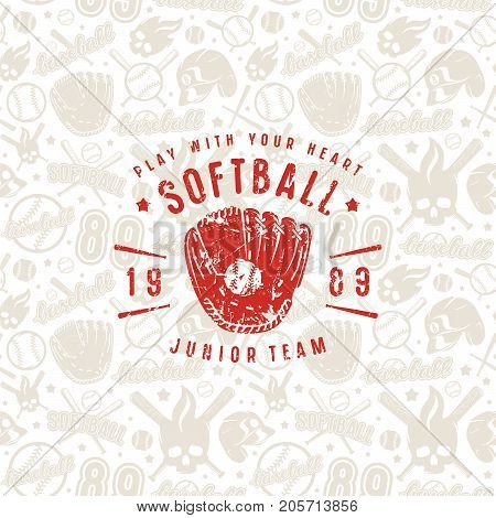 Baseball seamless pattern and emblem of softball team. Background of light color