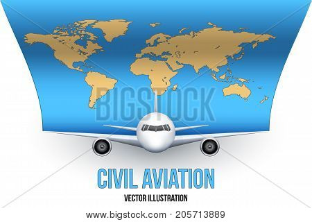 Front view of Civil Aircraft with World Map. Public or private plane. For business and travel design. Vector Illustration isolated on background.